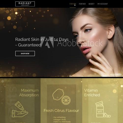 Web design concept for Radiant Collagen