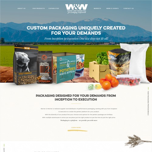 Web Design For a Packaging Company