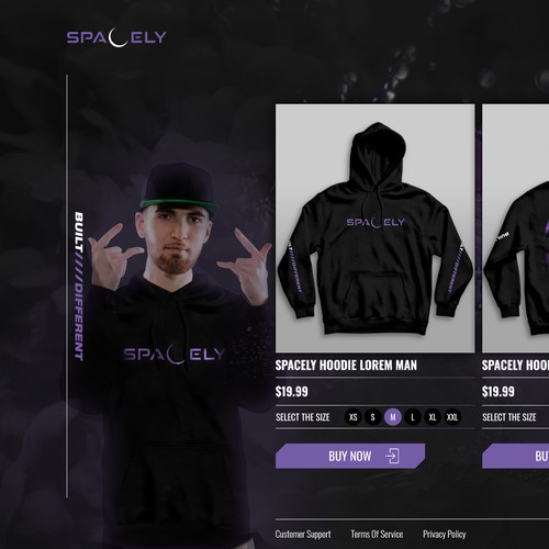 Landing page for a hoodies shop