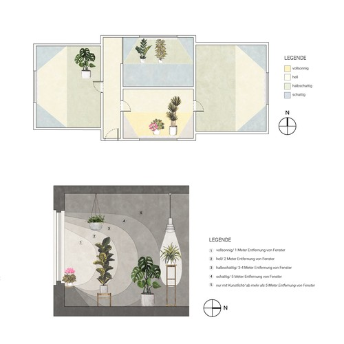 Floor plan and section for Garden magasin