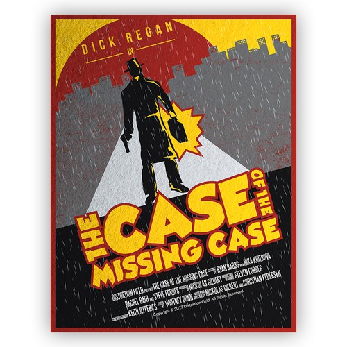 "Design a movie poster for the short film ""The Case of the Missing Case"""