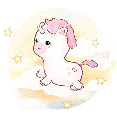Cute baby-unicorn for a pay product