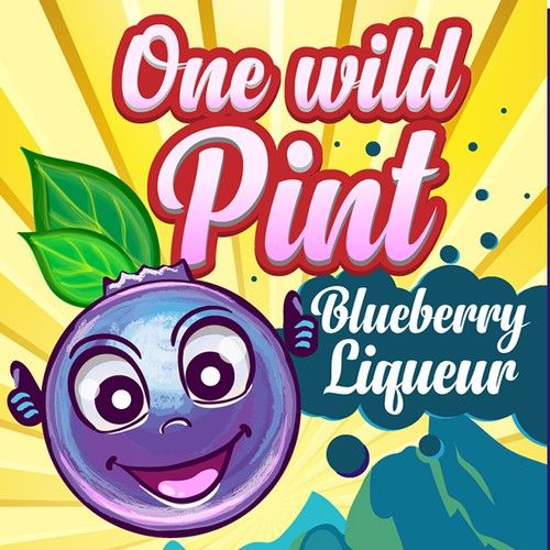 Disign for bottle Blueberry Liqueur
