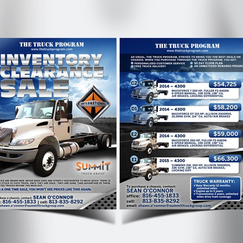 Double sided flyer for The Truck Program