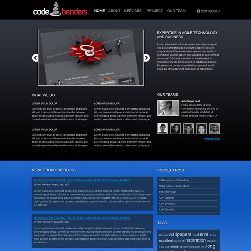 Code Benders website (Homepage and simple internal; PSD only)