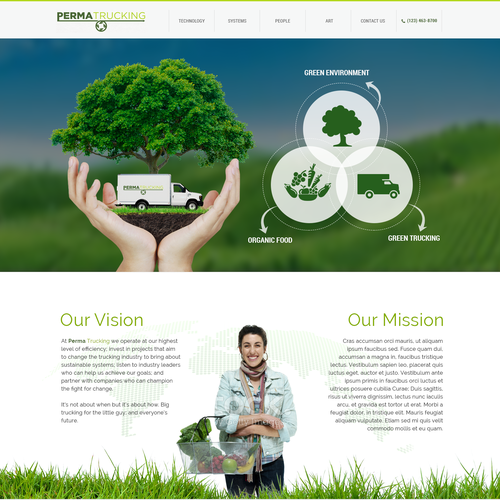 Home page design concept for Perma Trucking (Green Trucking Technology)