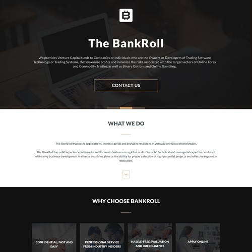 Landing Page/ Contact us Website For  VC Tech companyThe Bankroll,