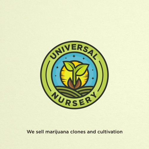 Fun colorful Logo for Universal Nursery, a cannabis clones and cultivation company