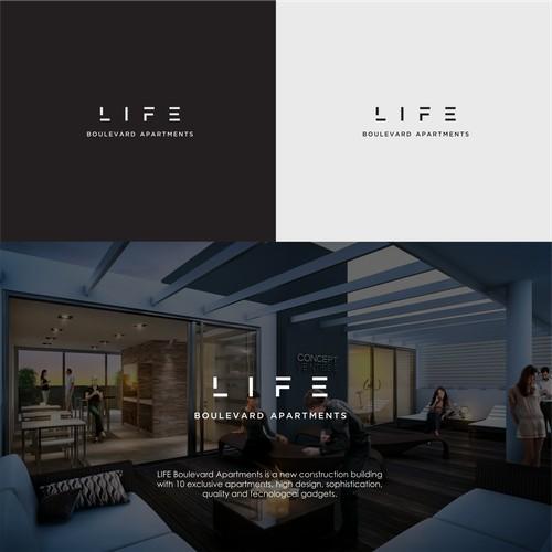 Futuristic Logo Design for LIFE Boulevard Apartments