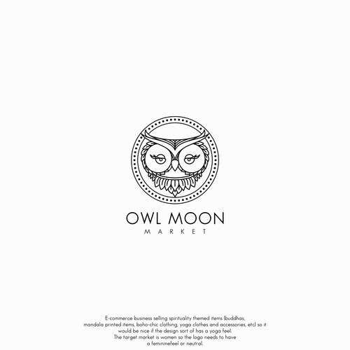 Logo concept for owl moon
