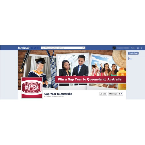 Facebook Cover for a Facebook Contest to Win a Gap Year to Queensland Australia