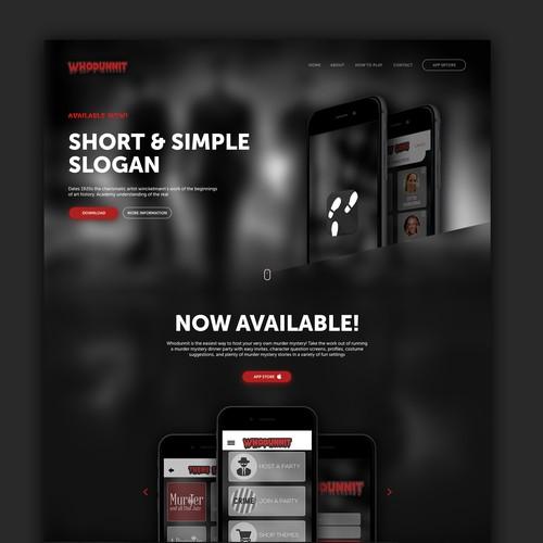 Landing page design for app