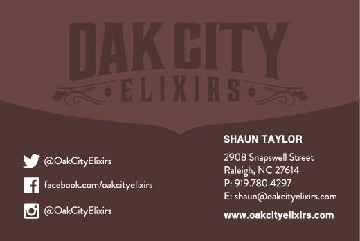 Business card for Oak City Elixirs