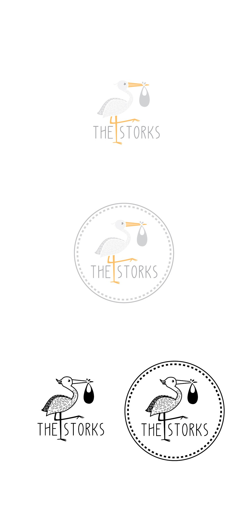 Create a modern, playful logo for baby brand The Storks