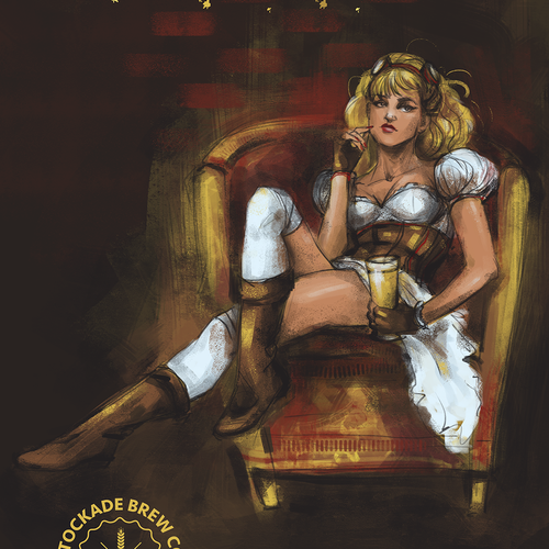 Steampunk pin-up-girl for beer label