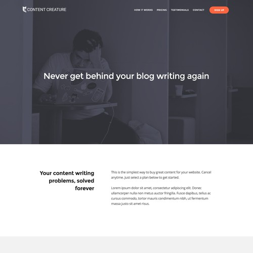 Flat website concept for content generating service