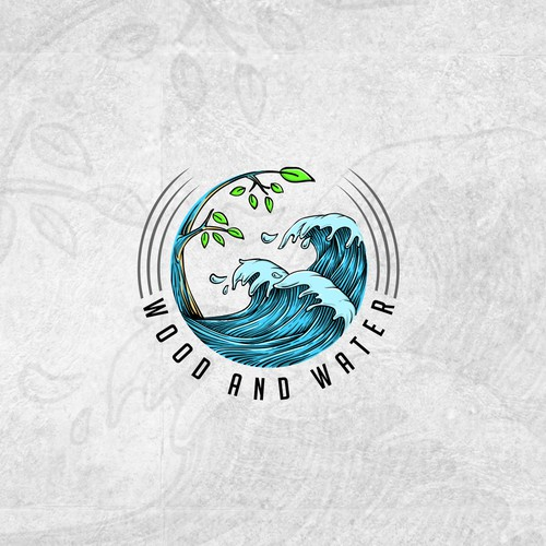 wood and water logo concept