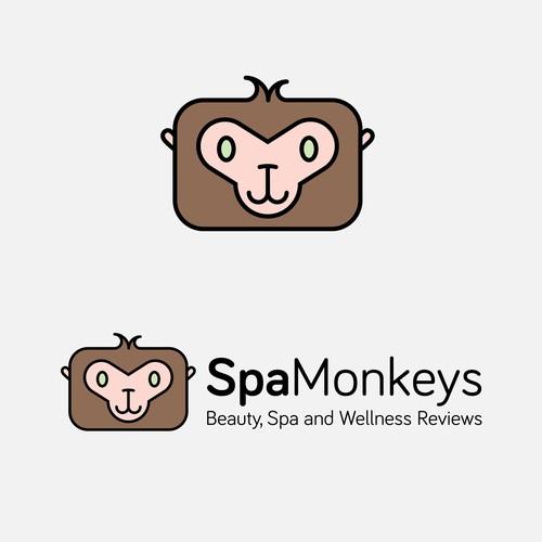 Create a cute, adorable mascot logo for Spa Monkeys
