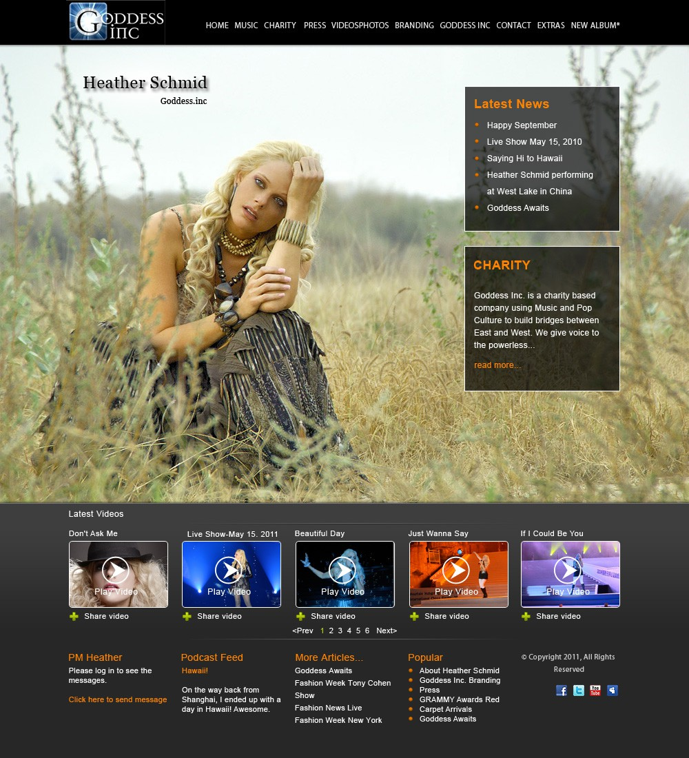 Create the next website design for International Recording Artist Heather Schmid