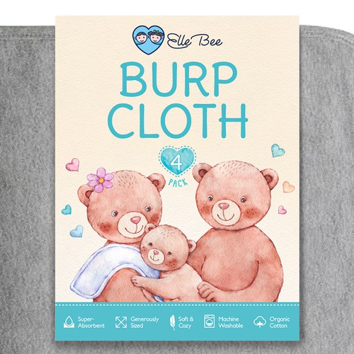 Baby burp cloths sleeve packaging design with original watercolor illustration.