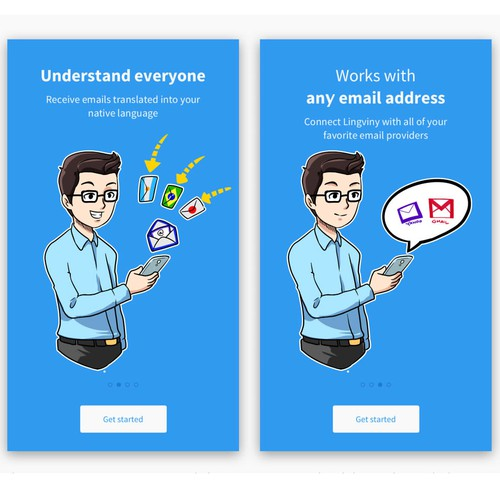 4 Onboarding illustrations for an APP
