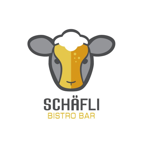 Logo concept for bistro bar with sheep/beer combo.