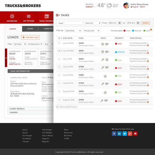 Create a long-haul trucking broker website/app