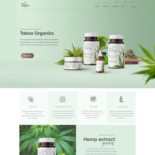 Taboo hemp product website design