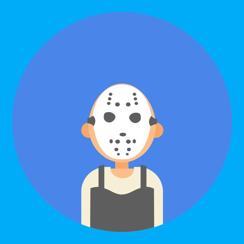 tired guy with hockey mask flat illustration