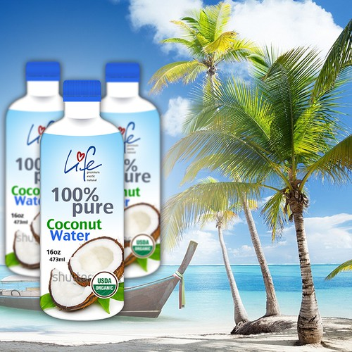 Product Label for Life Coconut Water