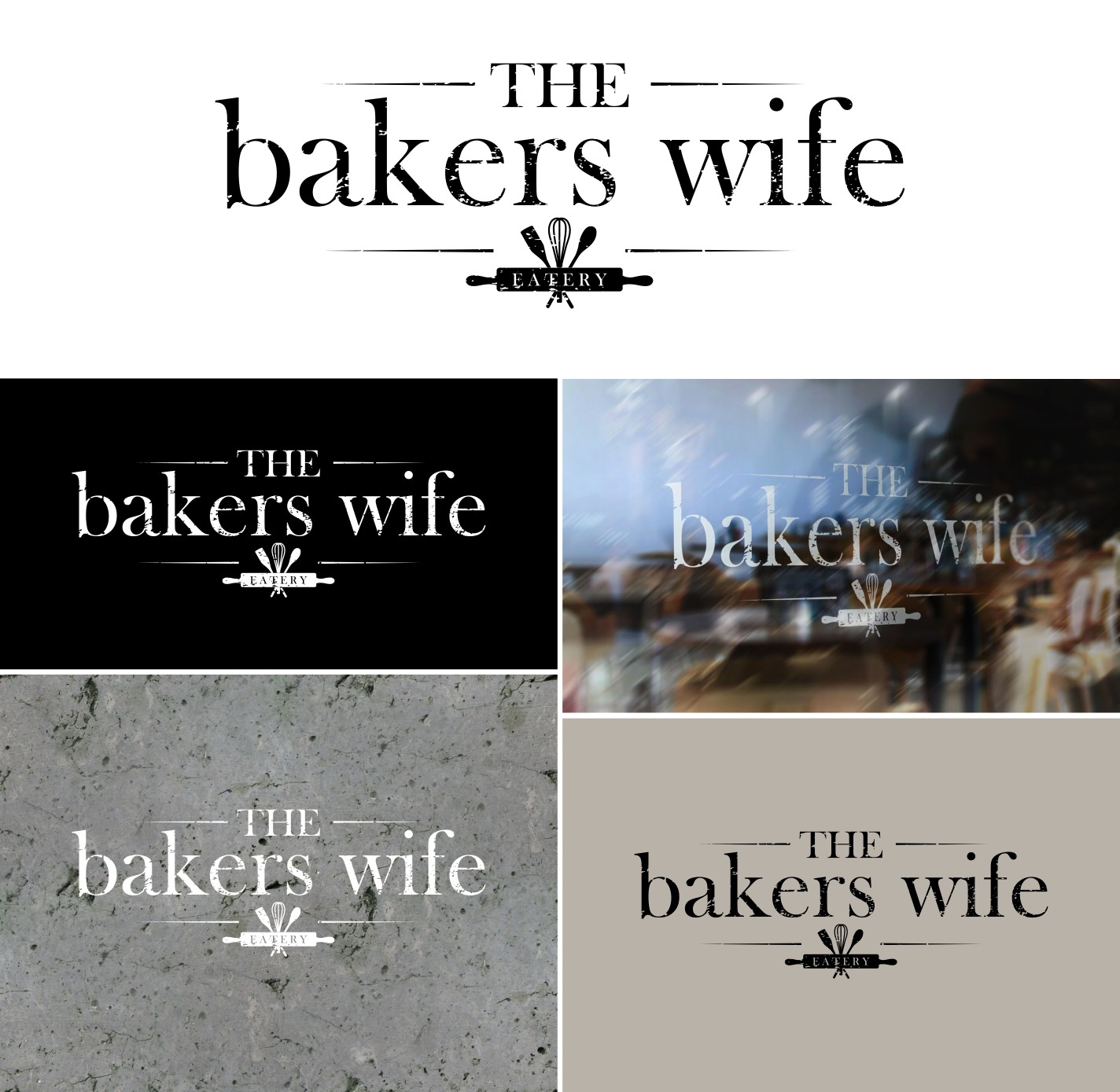 Create the next logo and business card for The bakers wife