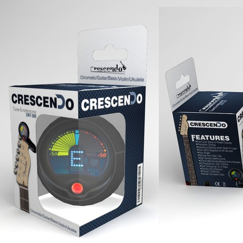 Create a packaging design for the Crescendo EMT-300 Guitar Tuner