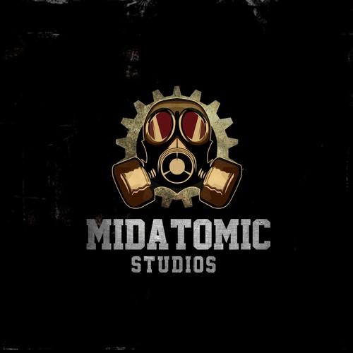 Create a steam punk / midcentury logo for midAtomic Studios.