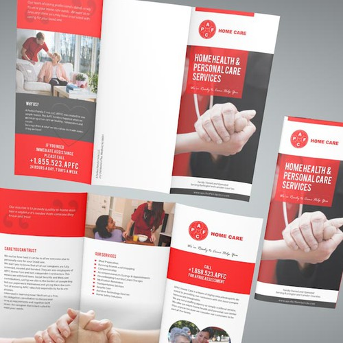 Create a one-of-a-kind tri-fold brochure for a local Home care business!