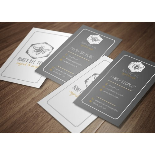 Clean, simple, vertical orientation business card design for Honey Bee Tees.