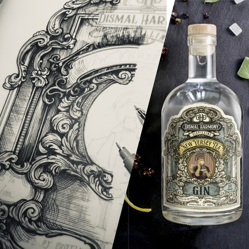 Hand drawn Gin label