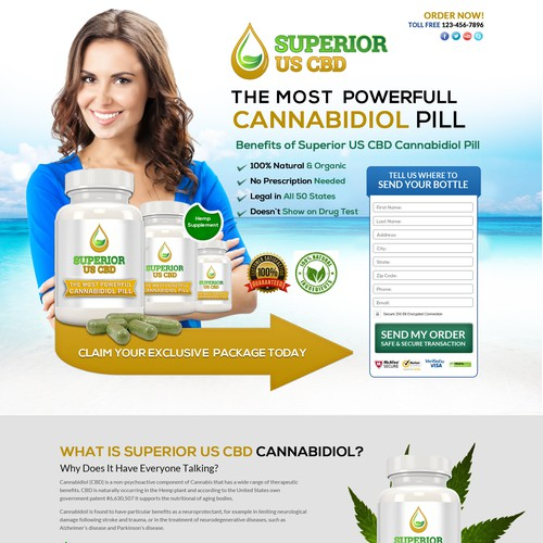 Superior US CBD landing page design