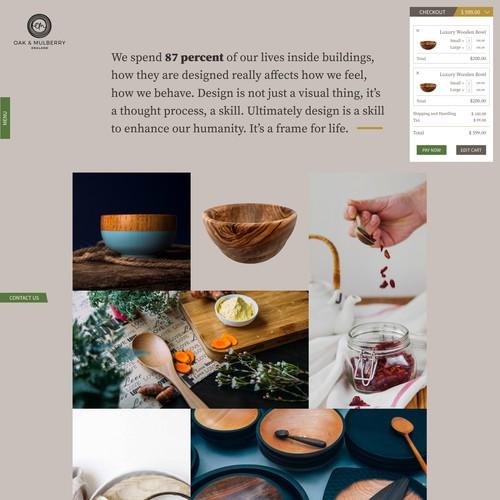 Oak & Mulberry Landing Page Checkout Design