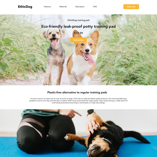 Landing page for eco-friendly dog product