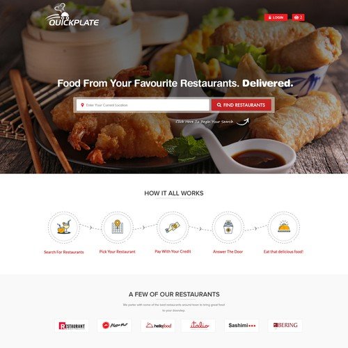 Quick Plate Landing Page Design