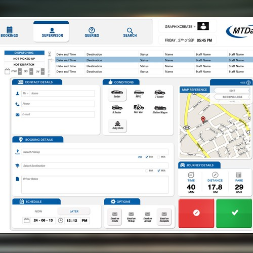 MTData needs a new web design for their cloud taxi booking application