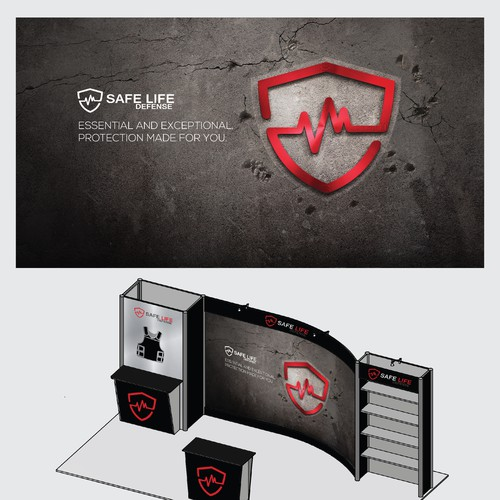 Minimalist Trade Show Booth for Safe Life Defense Body Armor
