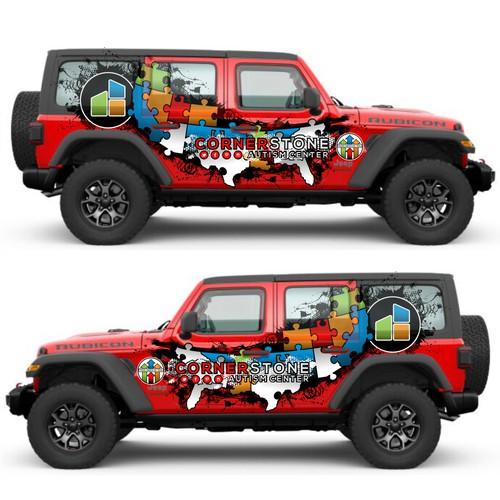 Jeep Wrap for Autism Center Roadtrip across US