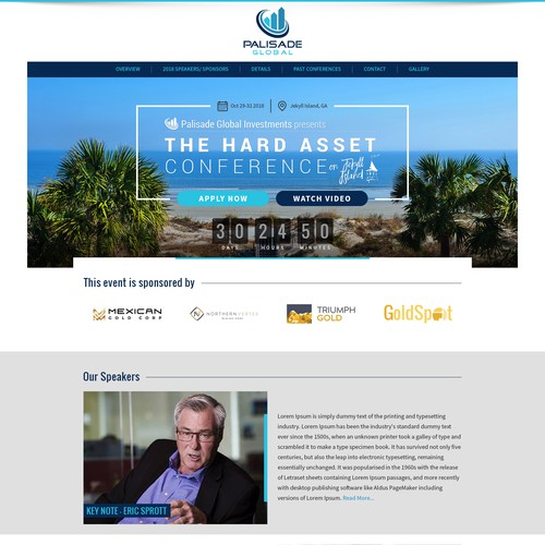 Home page design for Modern Conference Website