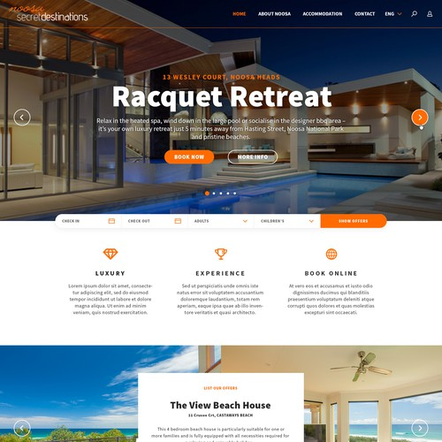 Noosa Secret Destinations web design idea