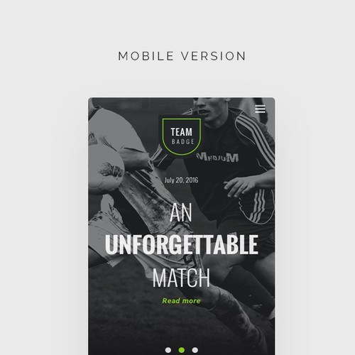 Wordpress theme design for a sports/soccer club (part2)