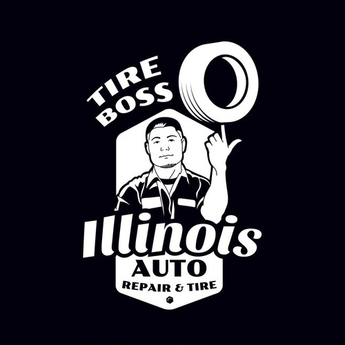 Create an EDGY and MODERN design for Illinois Auto Repair & Tire!