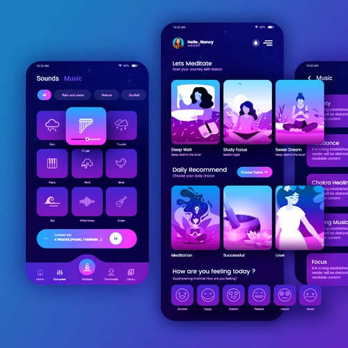 Meditation music App design