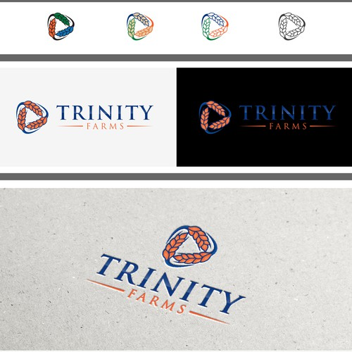 Create a captive logo showing modern youth in agriculture for Trinity Farms