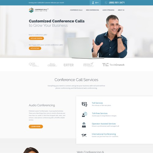 Webdesign for Conference Calls Unlimited